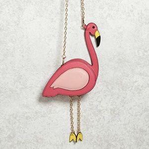Pink Flamingo Handbag Crossbody Purse Gold Chain